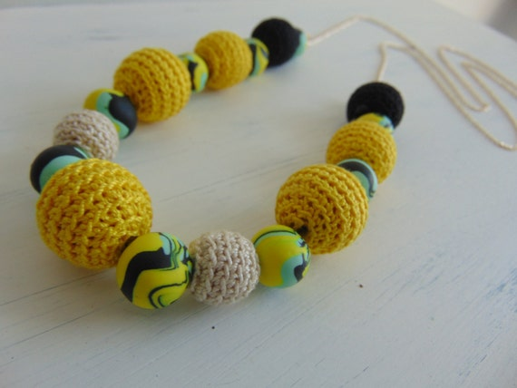 Yellow  Necklace Blue Crocheted Beaded Necklace, Single Strand Necklace, Statement Necklace, Long Necklace