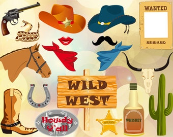 Printable Cowboy Party Photo Booth Props, Cowgirl Party Photo Booth Props, Western Party PhotoBooth Props, Western Rodeo Party Props, 0344
