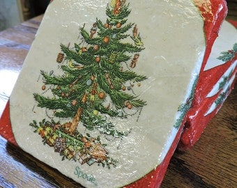 Spode Christmas Tree Coasters - Natural Stone