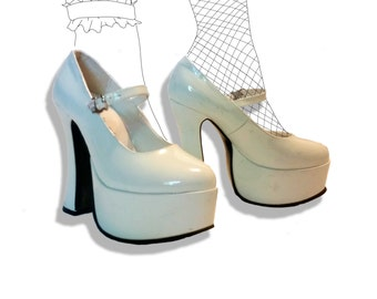 Mega platform white nurse mary jane heels!
