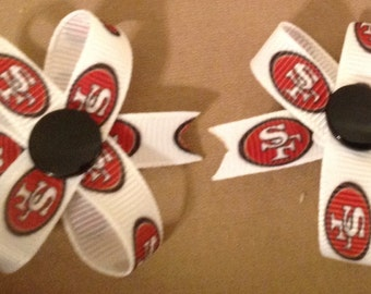 1 Pair of 2 inch San Fran 49ers  Grosgrain Snap In Dog Bows