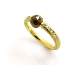 Rose cut diamond Ring, Diamond gold ring, Rough diamond engagement ring, Unique engagement ring, 14k gold diamond ring, Grey diamond ring
