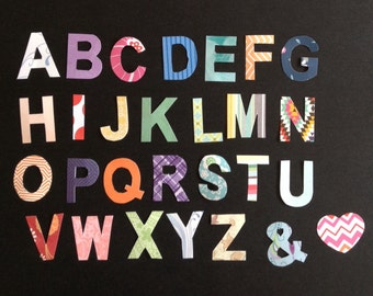 Paper letter cut outs, Christmas alphabet paper craft supplies die cuts, Scrapbooking, card making, letter embellishments, patterned letters