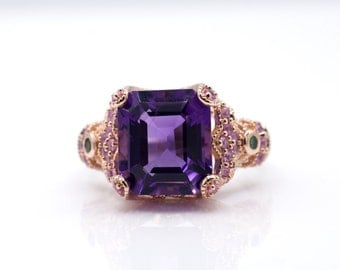 Emerald cut Amethyst ring with Tsavorite and Pink Sapphire