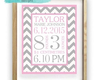 Baby Girl Birth Details, Digital Print, Zig Zag, Wall Hanging, Personalised, Customizable