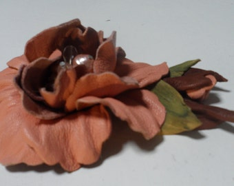 Unique natural genuine leather pin flower