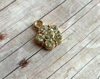 2 pieces Small Rhinestones flower charm, gold tone alloy metal, 9x12mm