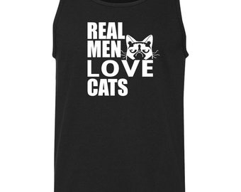 Real Men Love Cats Funny Saying Mens Tank Top T-Shirt