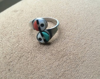 Vintage Native American Turquoise and Coral Ring
