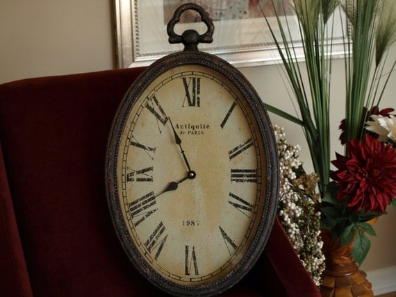Clock Distressed Clock Oval Clock Time Piece Home Decor