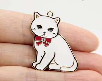 Cat Charm, White Cat Charm, Big Cat Charm, Enamel Cat Charm, Cat Pendant, Animal Charm, Animal Pendant, Cat Jewelry, Gifts for Cat Lovers
