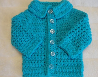 Handmade Crochet Boy's Buttoned Textured Cross-Stitch Cardigan suitable for all weathers