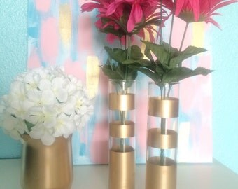 Gold Striped Vase Set