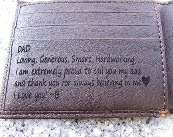 Laser Engraved Wallet, Brown Leather Wallet, Gift to Dad, Anniversary Gift, Father of the Bride Gift, Custom Handwriting, Personalized