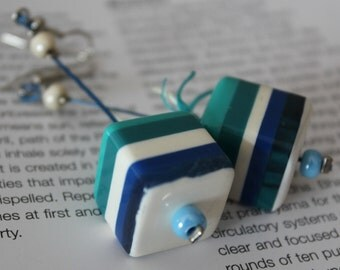 Summer Earrings/Cube earrings/Dangle earrings/OOAK
