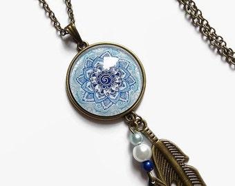 Sautoir collar * mandala azul * razón étnica rosetón azul Marruecos, cabochon de cristal