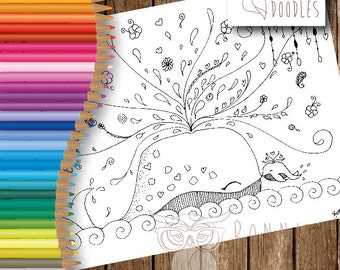 Mummy and Baby Whale Colouring Sheet