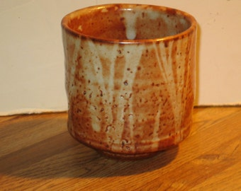Randy Johnston Anagama Wood Fired Studio Pottery Yunomi Tea Cup With Shino Glaze, Marked
