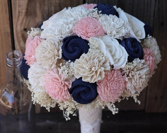 Blue Pink Bouquet, wedding bouquet, rustic wedding, sola bouquet, keepsake bouquet, bridal bouquet, wedding flowers