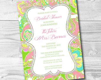 Lilly Pulitzer Invitation Printable - Bridal Shower Invitation -Lilly Pulitzer Chin Chin Invitation - Can be customized for any event