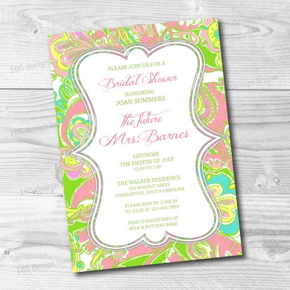 Lilly Pulitzer Wedding: Lilly Pulitzer Invitation Printable Bridal Shower Invitation