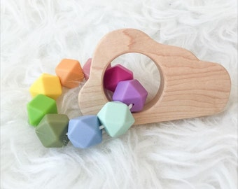 Cloud Teether Wooden Teether Wood Teether Silicone Teether Sensory Toy Rainbow Toy Teething Toy Waldorf Montessori