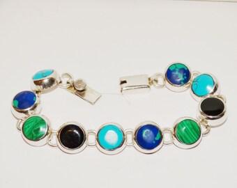 """Vintage Sterling Gorgeous Genuine Natural Multicolor Stone 7.5"""" Bracelet."""