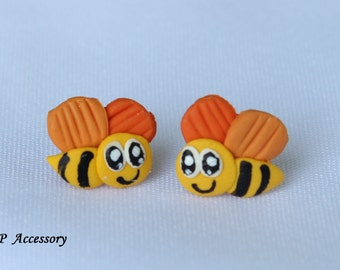 bee earrings, clay stud, clay earrings, earrings clay