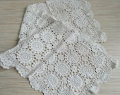 Vintage Crochet Table Runner Ivory Handmade Table Runner Rustic Wedding Table Runner Ivory Table Decor
