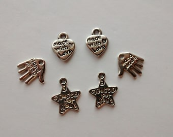 6 silver plated just for you sign handmade made with love charms pendants DIY bracelets and necklaces jewellery making charms