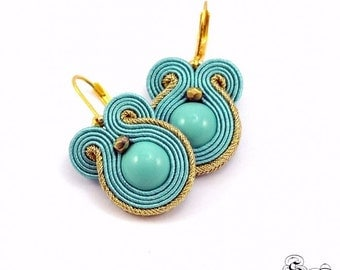 SALE! Small Turquoise Earrings Soutache, Turquoise Dangle Earrings, Small gold Earrings, Small gold dangle earrings, small earrings soutache