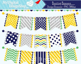 50% OFF SALE, Yellow Blue Bunting Banner Clip Art Clipart Set Patterned Flag Polka Dot Chevron Personal & Commercial Download |C075