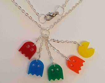 Pacman and 4 Ghosts Necklace - Actylic