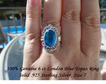 Genuine 6 ct London Blue Topaz Ring