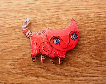 Cat brooch FREE SHIPPING ethnic cat pin Animal brooch cat jewelry, cat clay cat broach clay cat  clay pin Fabulous cat