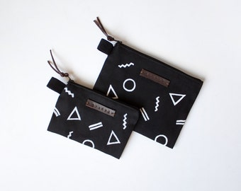 Geometric shapes - Zipper Jewelry Pouch, Pencil Case, Purse, Cosmetic bag with handmade print