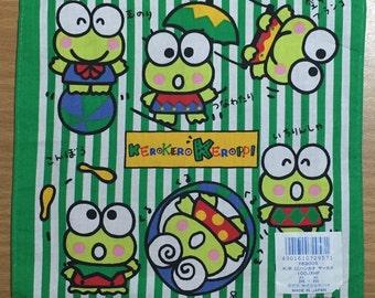 Vintage child's handkerchief Sanrio Kerokero Keroppi 1990 Small Handkerchief Made in Japan