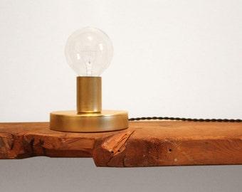 Simple brass light - 'Little Guy' - Lamp for wall or desk.  Clean Modern Playful Light