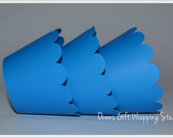Blue Cupcake Wrappers with scalloped edge, blue party decorations by Owens  Celebrations
