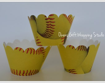 Softball Cupcake Wrappers with scalloped edge, Softball party decorations, by Owens  Celebrations