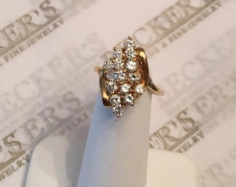 Vintage 14k yellow gold 15 Diamond Tiered Waterfall Cluster Ring, .98 tw HI-I1, size 6