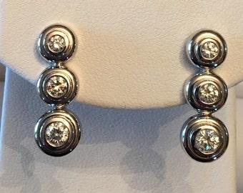 Vintage pair of 14k white gold 6 Round Graduated Diamond Bezel Set Long Drop Post Earrings .85 tw I-I1