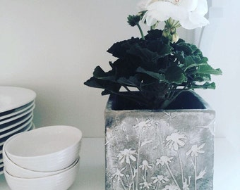 Gray Cement Square Planter Pots Containers W/ White Wildflower Etched Design~Perfect as a Planter or for a Variety of Uses • 4 Avail!