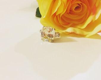 light yellow cushion cut engagement ring