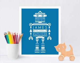 Personalised Technobot New Baby Print / Newborn Baby Print / New Baby Gift / Nursery Print