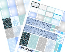 Winter Snowflake Planner Stickers   2 Full Page Printables