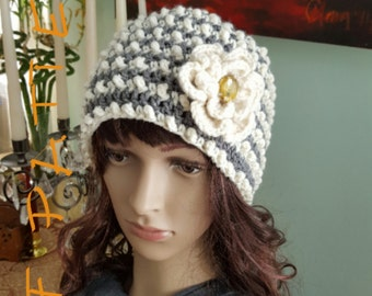 Crochet Pattern, Crochet Hat Pattern, Woman Crochet Hat With Flower Pattern, Winter Hat Pattern