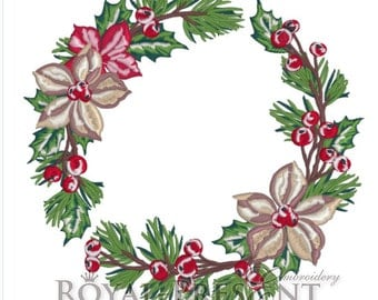 Machine Embroidery Design - Christmas floral wreath