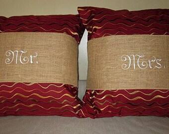 Wedding burlap pillow wrap .  Mr. and Mrs. embroidered  burlap pillow wraps.