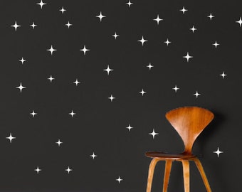 Bedroom Star Wall Decals Stickers Kids Room, Holiday Star Adhesives, Removable Charistma Decals Star Wall Art Decals Sparkly Room Stars, h54